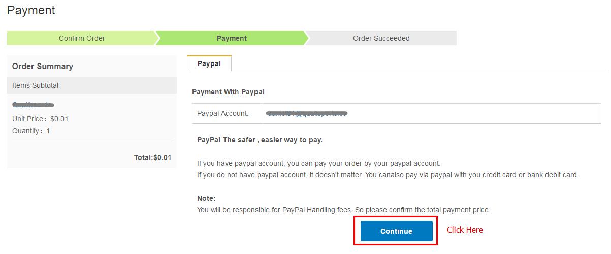 选择Paypal支付